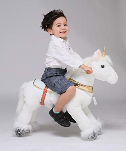 UFREE Horse Action Pony, Walking Horse Toy, Rocking Horse with Wheels Giddy up Ride on for Kids Aged 3 to 6 Years Old (Small)