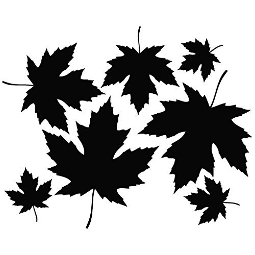 Maple Leaf Fall - Plant Decal [15cm Black] Vinyl Removable Decorative Sticker for Wall, Car, Ipad, Macbook, Laptop, Bike, Helmet, Appliance, Instrument, Motorcycle, Suitcase by Leon Online ()