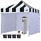 Eurmax 10'x10' Ez Pop-up Canopy Tent Commercial Instant Canopies with 4 Removable Zipper End Side Walls and Roller Bag, Bonus 4 SandBags(Carnival Black White)