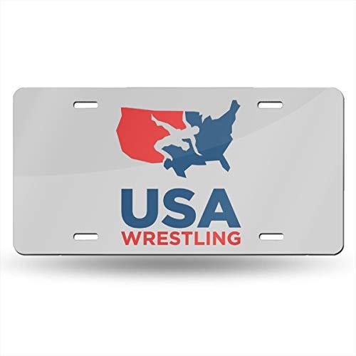 Bayarsea License Plate USA Wrestling 3D Funny Auto Car Tag Metal Cover