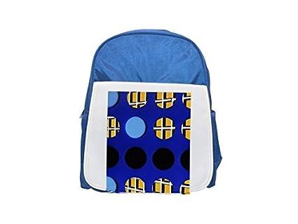 Rejilla con celdas redondas y cuadradas impresas mochila azul infantil, mochilas lindas, mochilas pequeñas