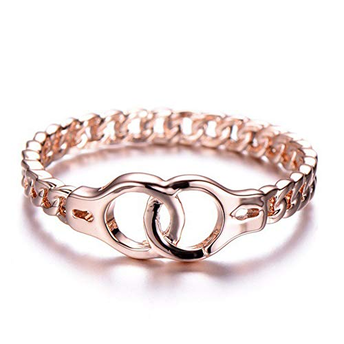 (angel3292 Fashion Rose Gold Plated Buckles Handcuff Ring Women Finger Charm Jewelry Decor Rose Gold US)