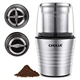 CHULUX Electric Spices and Coffee Grinder with 2.5 Ounce Two Detachable Cups for Wet/Dry Food,Powerful Stainless Steel Blades and Cleaning Brush