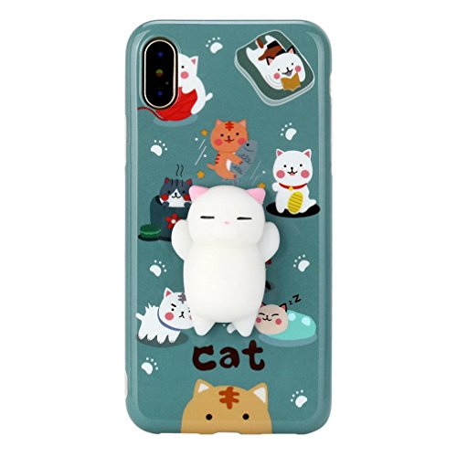 Price comparison product image Mchoice For iPhone X 5.8 inch, New Squishy 3D Squeeze Cute Mochi Toy Silicone Back Soft Case Cover for iPhone X 5.8 inch (A)