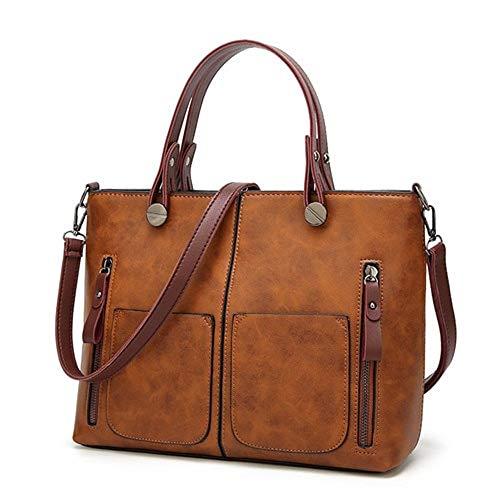 (Tinkin Women Shoulder Bag Female Causal Totes for Daily Shopping All-Purpose Dames Handbag (Brown))