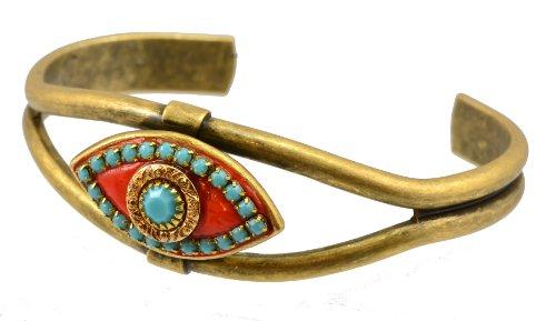 [Michal Golan Gold Plated Evil Eye Bangle Bracelet in Aqua Swarovski Crystals and Sun Enamel] (Middle Eastern Girl Costume)