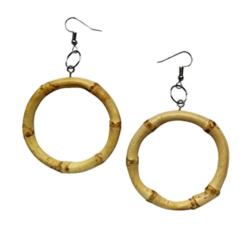 Bamboo Dangle - Dovewill 1 Pair Classic Fashion Natural Bamboo Earrings Dangle Hook Earrings Women Party Ear Jewelry