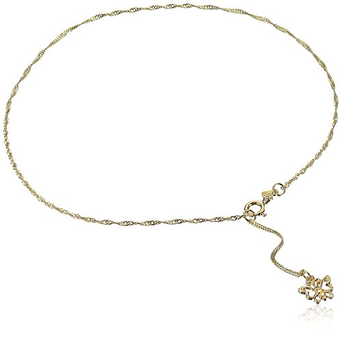 14k Yellow Gold Anklet with Sparkling Butterfly Charm, 9+1
