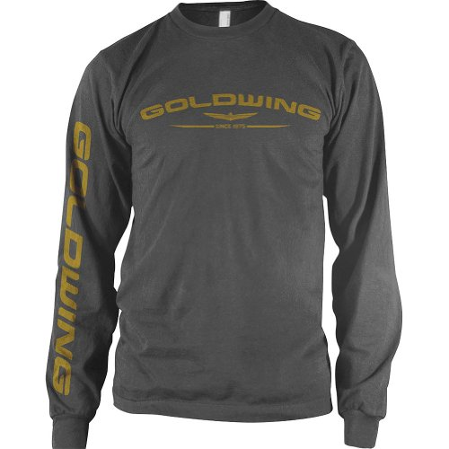 Honda Mens Goldwing Long-Sleeve Shirt, Charcoal, (Honda Goldwing T-shirts)