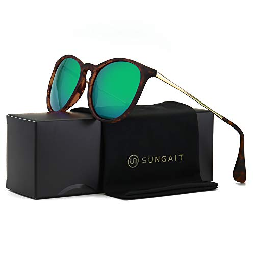 (SUNGAIT Vintage Round Sunglasses for Women Girl Classic Retro Designer Style (Polarized Green Mirror Lens/Dark Amber Frame) 1567 PGHPKLV)