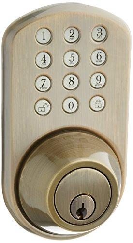 MiLocks TFL-02AQ Digital Deadbolt Door Lock and Passage Lever Handle Combo with Keyless Entry via Keypad Code for Exterior Doors, Antique Brass MiProducts Corporation