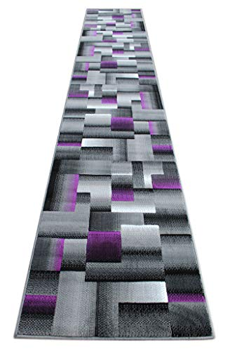 Masada Rugs, Modern Contemporary Runner Area Rug, Purple Grey Black (32 Inch X 15 Feet 6 - Rug Geometric Purple