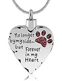 Unisex No Longer by My Side But Forever in My Heart Dad&Mom Cremation Ashes Urn Pendant Necklace