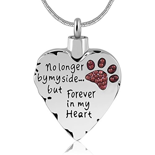 (Eternally Loved Unisex No Longer by My Side But Forever in My Heart Dad&Mom Cremation Ashes Urn Pendant Necklace (Pet))