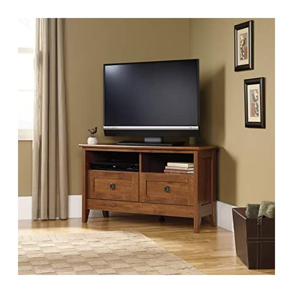 """Sauder August Hill Corner Entertainment Stand, For TV's up to 40"""", Oiled Oak finish - Accommodates up to a 40"""" TV weighing 95 lbs. or less Divided shelving holds audio/video equipment Hidden storage behind simulated drawer fronts/doors - tv-stands, living-room-furniture, living-room - 41Js2HO7yWL. SS570  -"""
