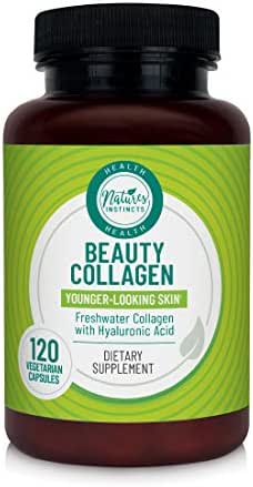 Nature's Instincts Beauty Collagen Supplement for Younger-Looking Skin with Hyaluronic Acid, 120Count