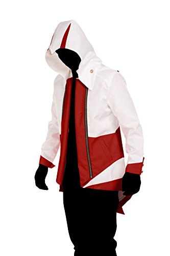 SuperShopping-zone Cosplay Hoodie Costume Jacket Coat,White with Red (Women-Small)