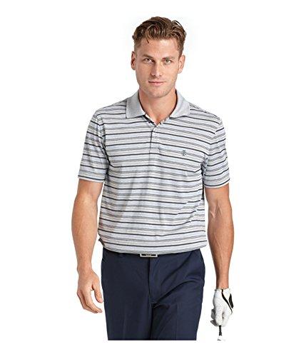 IZOD Men's Short Sleeve Nautical Jersey Feeder Stripe Golf Polo, Silver Nickel Heather, Small Izod Jersey Top