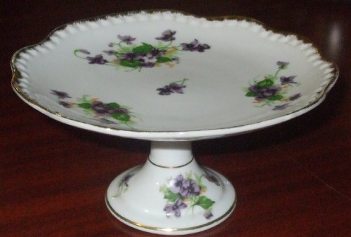 Sweet Violet Vintage Norcrest Pedestal Candy Dish Made in ()