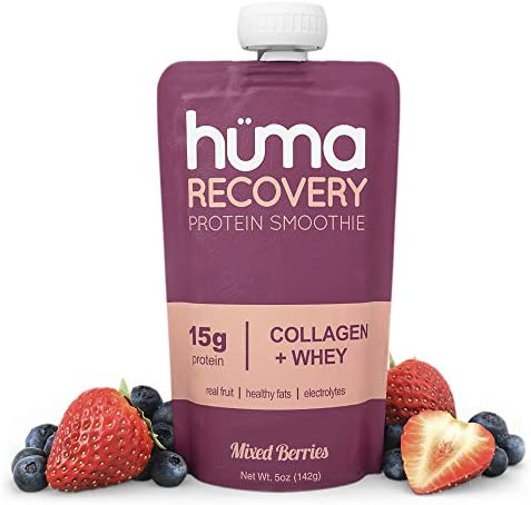 Huma Recovery Protein Smoothie, 12 Pouches 15g Collagen Whey Post Workout Recovery Drink Ready-to-Drink Protein Shake with Real Fruit, Electrolytes, Healthy Fats