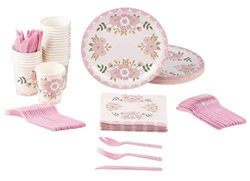 Disposable Dinnerware Set - Serves 24 - Vintage Floral Party Supplies for Birthdays, Weddings, Bridal Showers, Includes Plastic Knives, Spoons, Forks, Paper Plates, Napkins, Cups