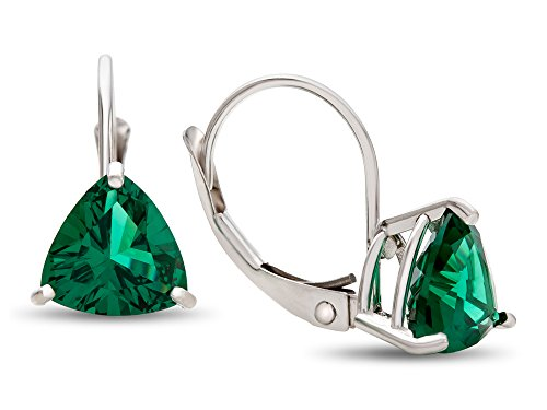 Finejewelers 7x7mm Trillion Simulated Emerald Lever-back Drop Earrings 14 kt White Gold