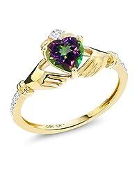 1.01 Ct Irish Celtic Claddagh Green Mystic Topaz Diamond Accent 10K Yellow Gold Ring