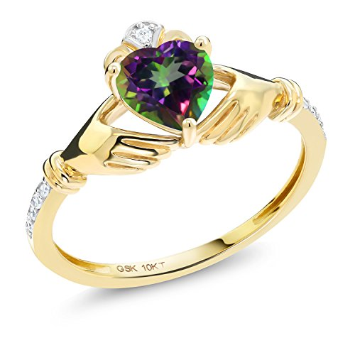 (Gem Stone King 1.01 Ct Irish Celtic Claddagh Green Mystic Topaz Diamond Accent 10K Yellow Gold Ring (Size 7))