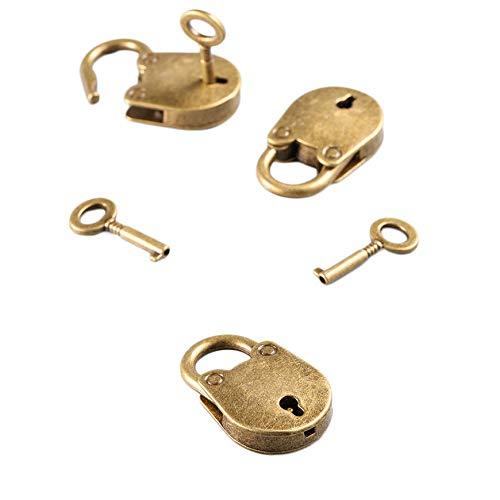 set Bronce antiguo Plateado Estilo chino Joya con candado Caja de cofre Port/átil Cerradura Equipaje Cintur/ón Candado con llaves Pudincoco 3Pcs Bronce