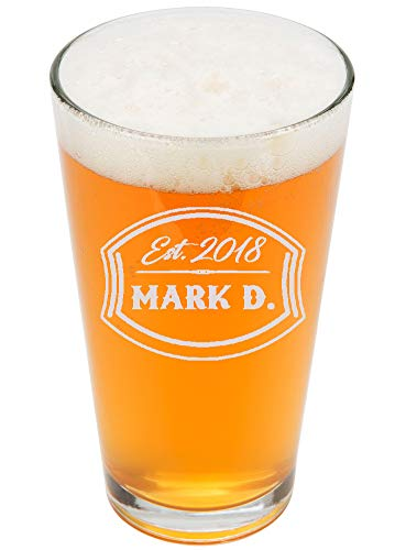 (Personalized Pint Glasses 16oz - Custom Engrave Pint Beer Glass - Groomsmen Beer Glasses)