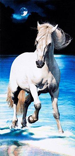 White horse brazilian velour beach towel 30x60 inches