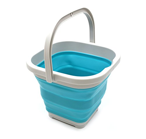 - SAMMART 5L (1.3 Gallon) Sqare Collapsible Plastic Bucket - Foldable Square Tub - Portable Fishing Water Pail - Space Saving Outdoor Waterpot (1, Bright Blue)