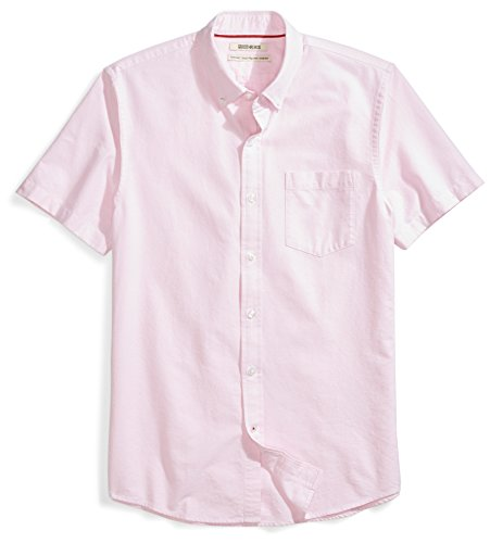 (Goodthreads Men's Standard-Fit Short-Sleeve Solid Oxford Shirt w/Pocket, Pink, Medium)