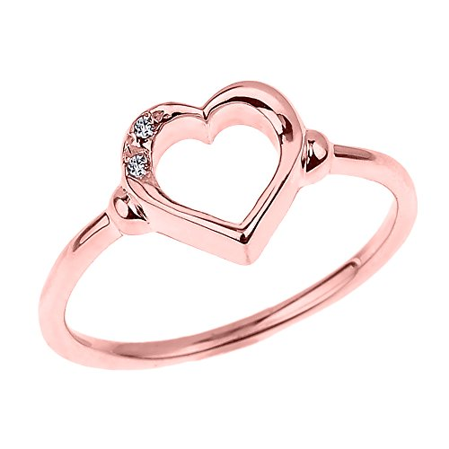 Fine 14k Rose Gold Dainty Band 2-Stone Diamond Open Heart Ring (Size 6.75) by Modern Contemporary Rings