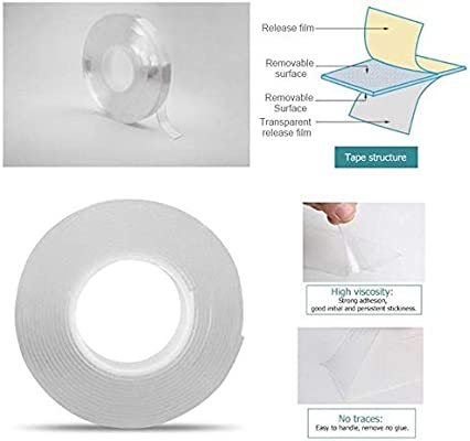 Reusable Transparent Gel Mat Tape Kitchen Carpet Fixing Volwco Washable Double Sided Adhesive Tape Etc Photos Pasting Nano Traceless Carpet Tape for Walls