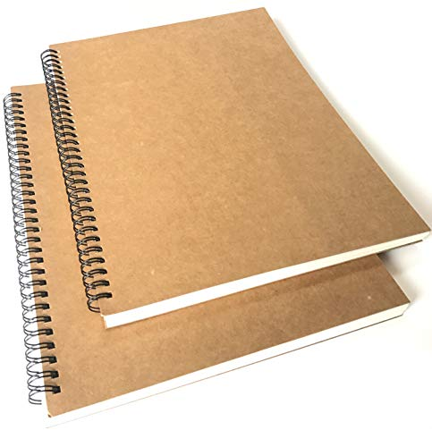 VEEPPO A4/B5 Big Thick Spiral Bound Notebooks and Journals Bulk 2/4Pack Blank/Lined Scrapbook Backpack Books 50Sheets/100Pages per Book (A4 Blank-2 Pack)