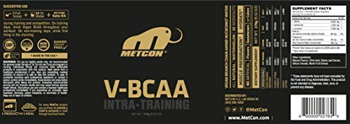 MetCon V-BCAA - All Natural - Non GMO - Plant Based - Branch Chain Aminos - BCAA - w/Coconut Water for Electrolytes - Natural Watermelon Flavor