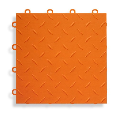BlockTile B1US4927 Garage Flooring Interlocking Tiles Diamond Top Pack, Orange, 27-Pack by BlockTile