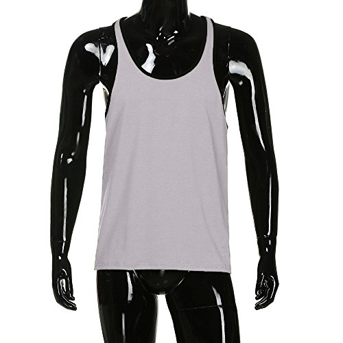 KIKOY Casual Cozy Men's Solid Gym Tank Top Vest Singlet Sport Sleeveless Shirt by Kikoy mens tops (Image #2)