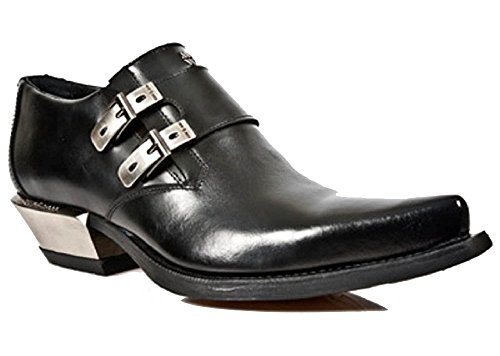 Noir Cuban Heel Shoe Side Argent with New Buckles Formal Rock Style Zq7Sww4O