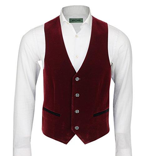 Mens Designer Vintage Soft Velvet Waistcoat Tailored Fit Retro Vest Black Green Blue Purple Maroon [Chest UK 50 EU 60,Maroon ]