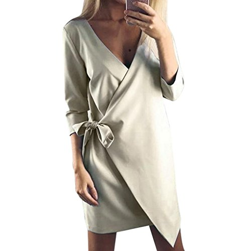 Longra Damen Asymmetrisch Einfarbig Business Kleid Etuikleid Bleistiftkleid Langarm Kleid Knielang Damen Herbst Winter Casual Party Mini Kleid Tunika mit Bandage Khaki