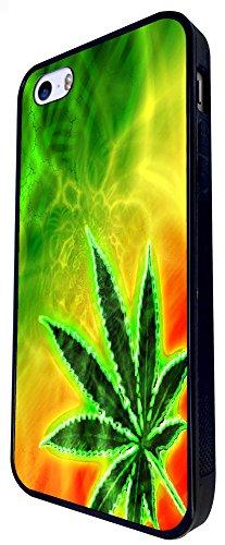 576 - Marijuana Cannabis Leaf Rasta Jamaican Design iphone SE - 2016 Coque Fashion Trend Case Coque Protection Cover plastique et métal - Noir