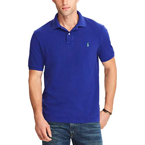 Polo Ralph Lauren Mens Custom Slim Fit Mesh Polo Shirt (Small, Blue (Green Pony)) (Ralph Lauren De)