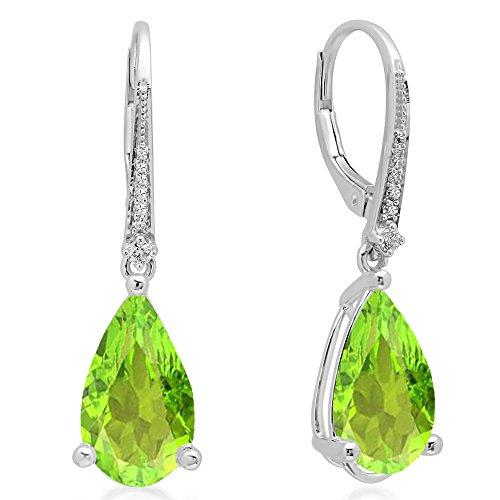 Dazzlingrock Collection 14K 14X8 MM Each Pear Peridot & Round White Diamond Dangling Drop Earrings, White Gold