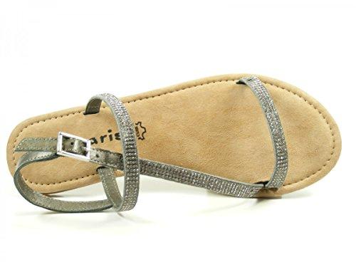Tamaris Schuhe 1-1-28143-38 bequeme Damen Sandalette, Sandalen, Sommerschuhe für modebewusste Frau, PEWTER METALL.