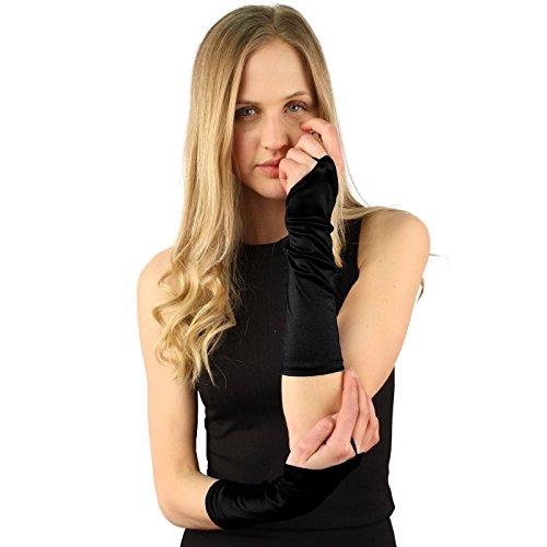 Elbow Length Satin Fingerless Gloves - Elegant Satin Stretchy Fingerless Hook 12