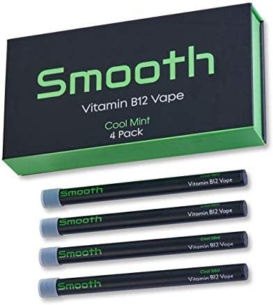 Smooth Vitamin B12 Vape for Energy: All Natural, Vegan-Friendly Vitamin B12 Inhalable Aromatherapy   Great Taste, No Calories, Nicotine Free   Cool Mint Flavor (4 Pack)