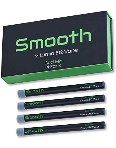 Smooth Vitamin B12 Vape for Energy All Natural, Vegan-Friendly Vitamin B12 Inhalable Aromatherapy Great Taste, No Calories, Nicotine Free Cool Mint Flavor 4 Pack
