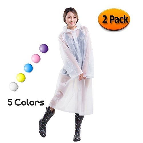 Rain Poncho for Mens Women - Packable PVC Lightweight Adult Raincoat with Hoods and Sleeves Perfect for Camping,Traveling and Outdoor Activities White (2 Pack)